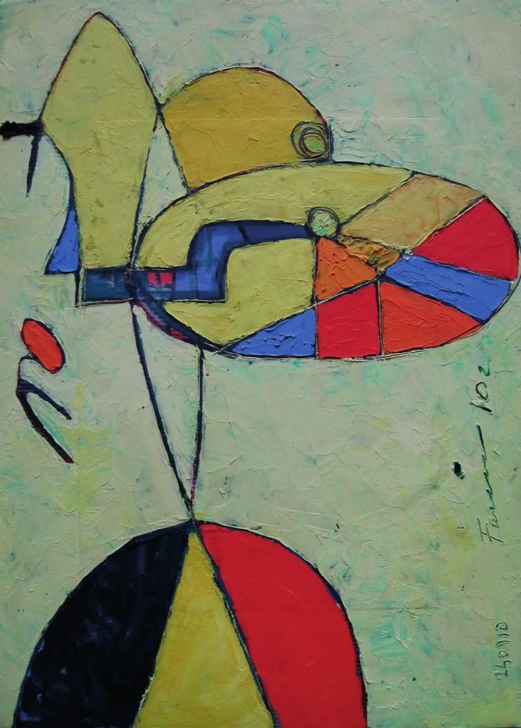 Bicicletta Gialla, 2002<br/>Olio su tela, 60 x 45 cm