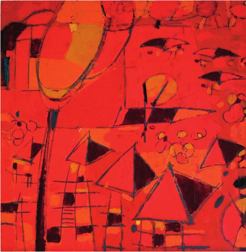 Mercato Rosso, 2007<br/>Olio su tela, 80 x 80 cm