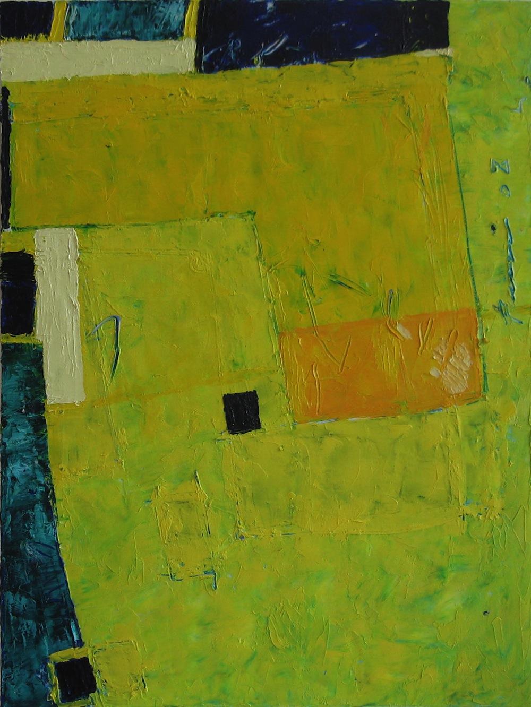 Giallo-blu, 2008<br/>Olio su tela, 80 x 90 cm