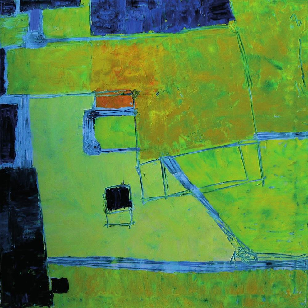 Giallo-blu, 2008<br/>Olio su tela, 80 x 80 cm
