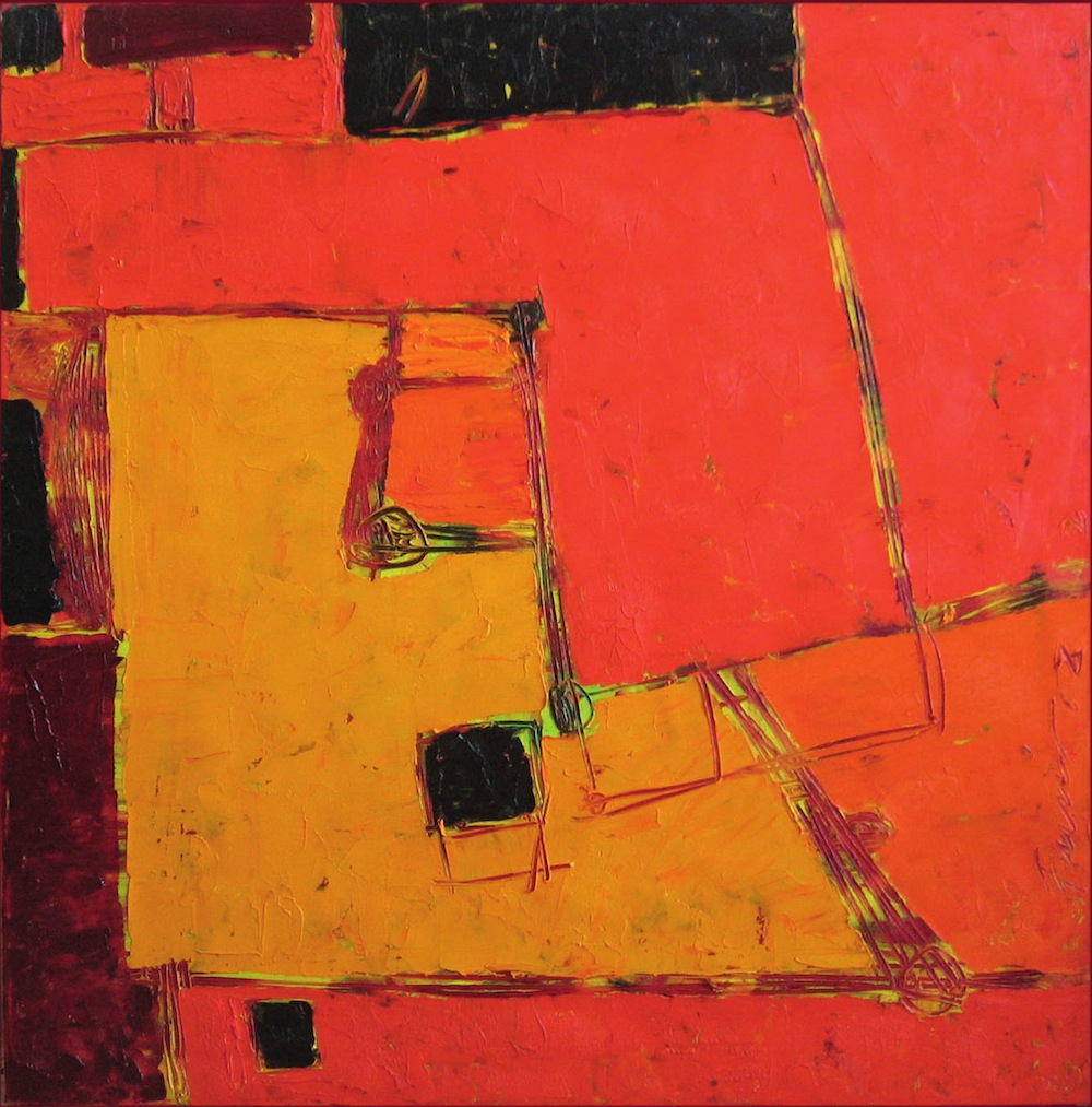 Rosso-arancio, 2008<br/>Olio su tela, 80 x 80 cm