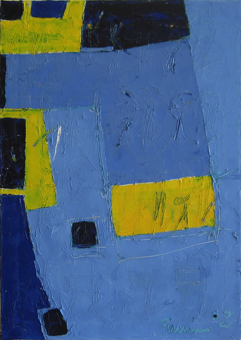 Azzurro-giallo, 2008<br/>Olio su tela, 90 x 100 cm