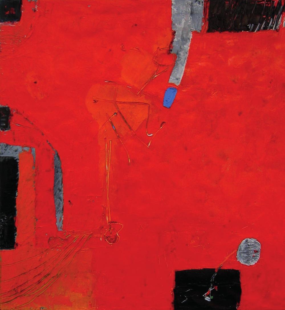 Rosso-grigio, 2010<br/>Olio su tela, 80 x 80 cm