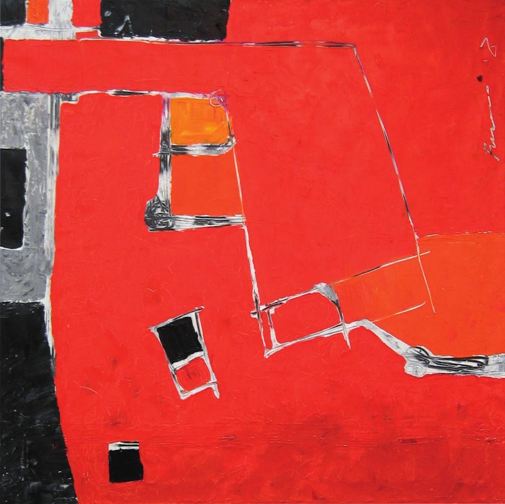Rosso-grigio, 2010<br/>Olio su tela, 90 x 90 cm