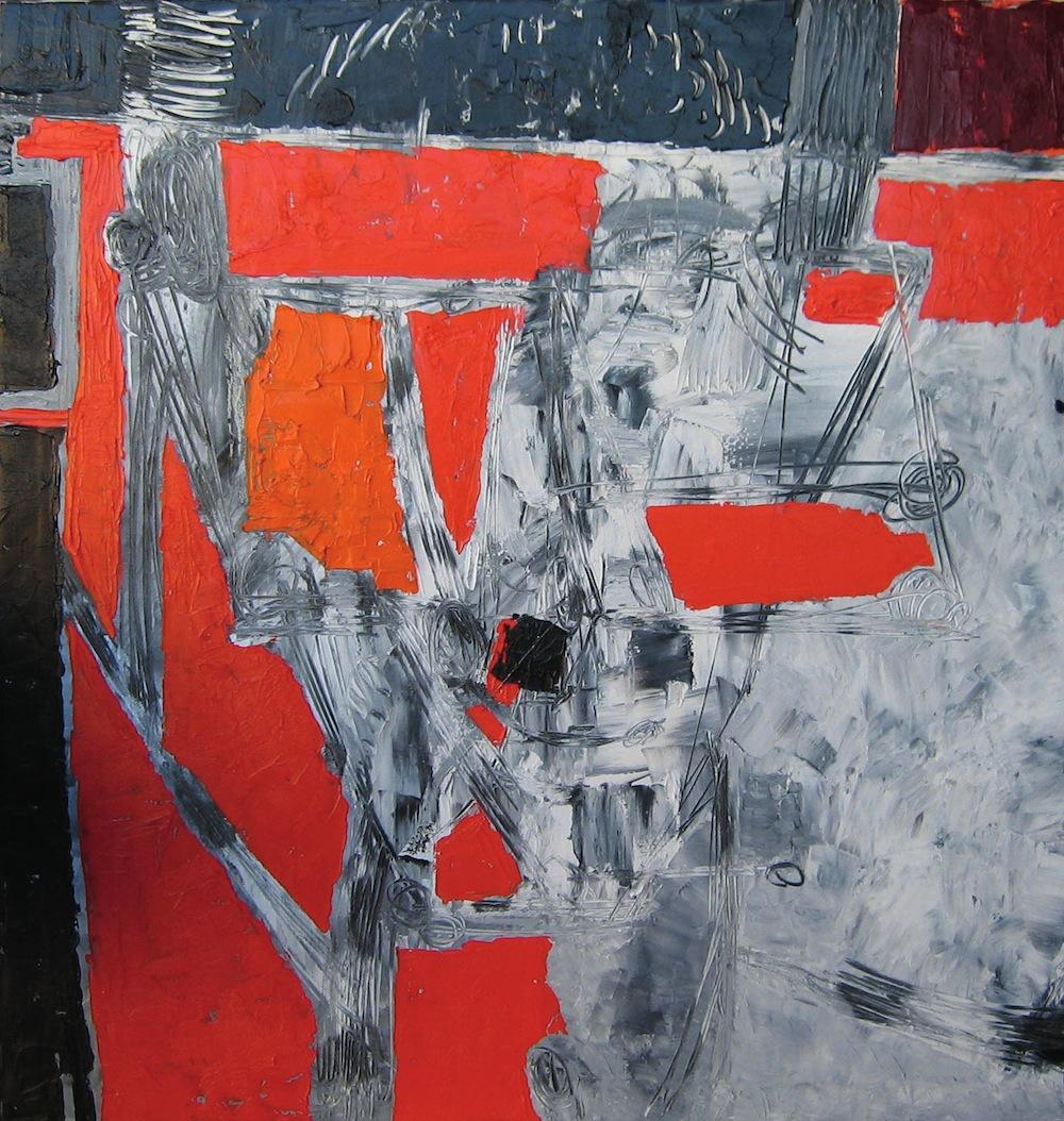 Rosso-grigio, 2011<br/>Olio su tela, 100 x 100 cm