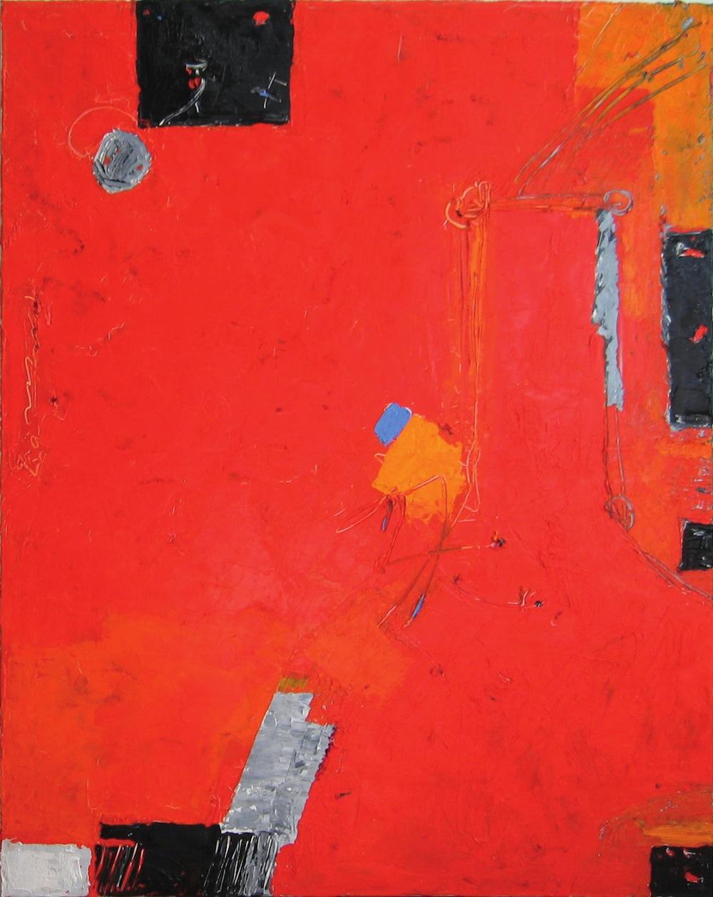Rosso-grigio, 2011<br/>Olio su tela, 90 x 100 cm