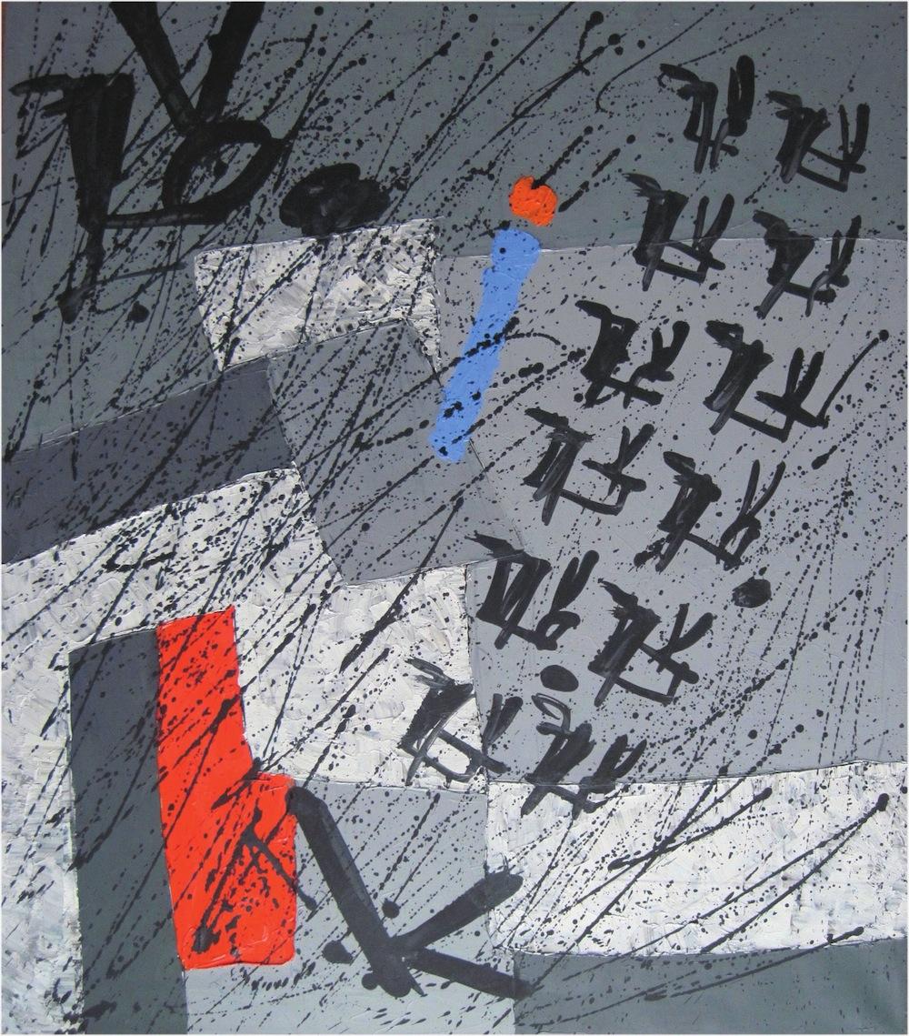 Rosso-grigio, 2012<br/>Olio su tela, 90 x 90 cm