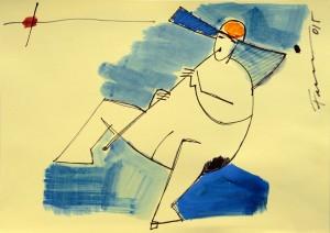 Il suonatore, china su carta di Franca Faccin (collezione NPL)